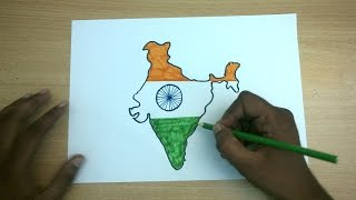 How to draw Republic Day colorful Drawing || How to Draw india map