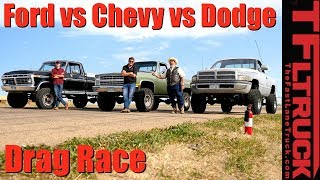 Classic Drag Race: Chevy K10 Big Green vs Ford F250 Rusty Boy vs Dodgezilla Ram Overkill