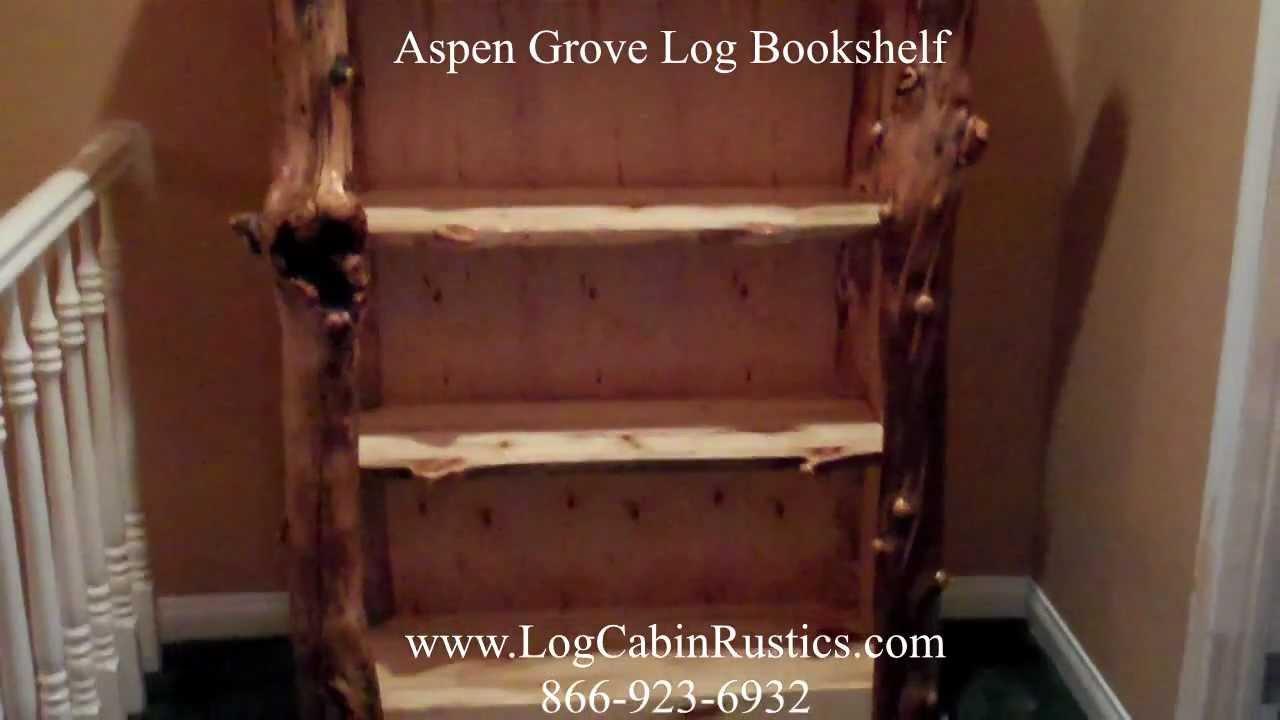 Rustic Bookshelf - Aspen Bookcase - Log Bookshelf - YouTube