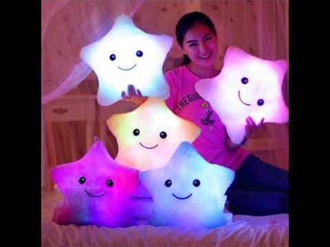 Battery Powered Decorative Flashing LED Light Plush Pink Smiling Star Bear's paw I LOVE YOU Cushion