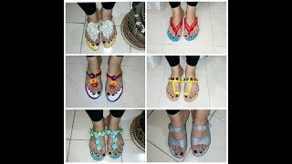 DIY Old Sandals Redecorate /6  Easy Ideas to Redo old sandals
