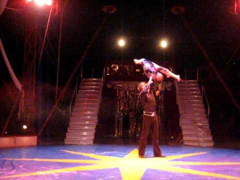 """Acrobatic Adazio. Circus group """"Jauniba"""" (Riga) Jurij Djatlov i Alianna Neibauere"""