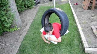 Tire Swinging In The Backyard!
