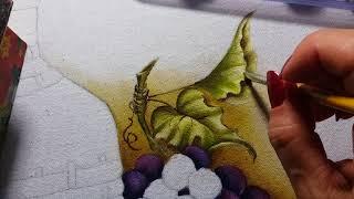 Garrafão uvas e queijo – Vídeo 01 (Apostila digital) Ana Ferrante pinturas em tecido