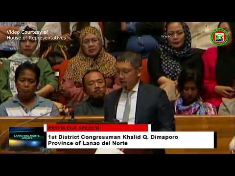 Privilege Speech of 1st District Congressman Khalid Q. Dimaporo of Lanao del Norte