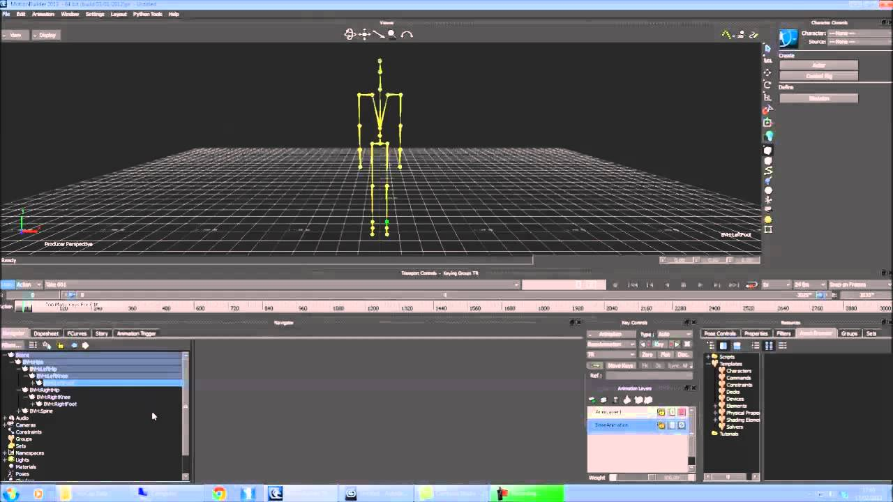 Convert Motion Capture BVH data to 3DS Max Biped data
