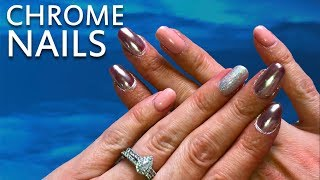 Nail Tutorials for beginners - The metallic look, using rose coloured chrome powder
