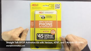 Straight Talk BYOP Activation Kit with Verizon, AT&T, and T-Mobile LTE SIMs