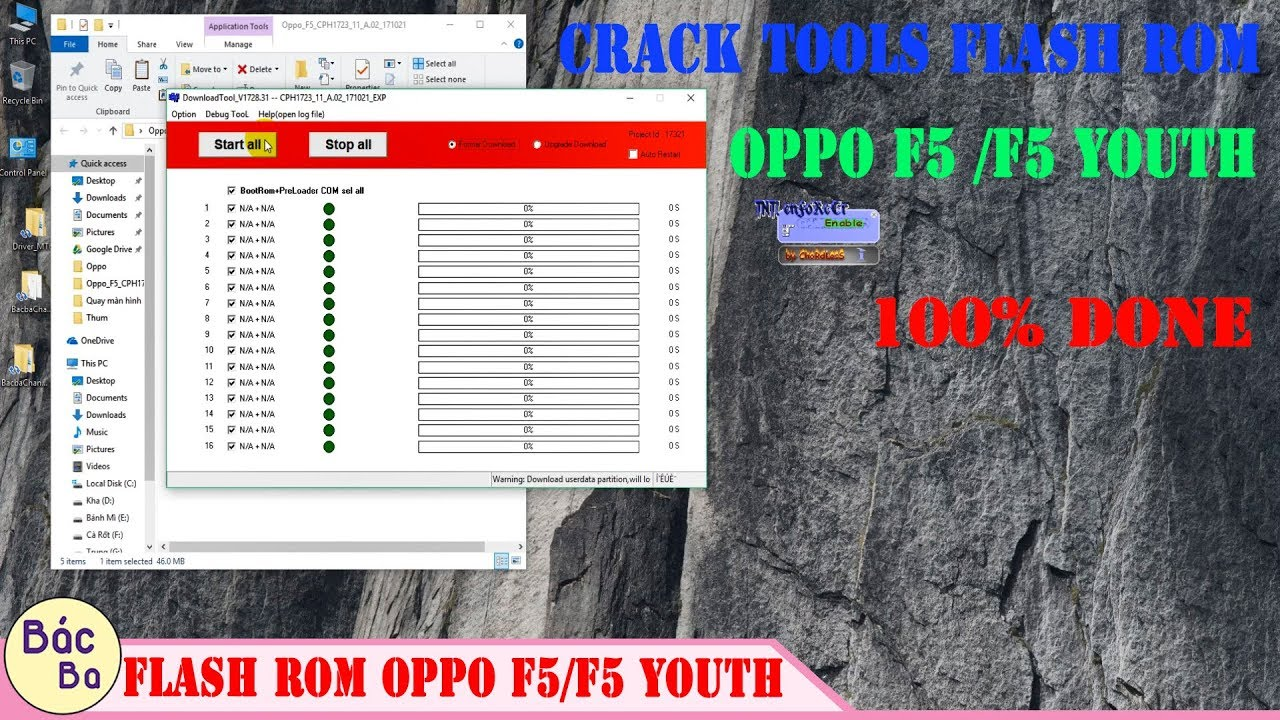 How To Crack Tools MsmDownloadTool Flash Rom OPPO F5/F5 Youth 100% Done