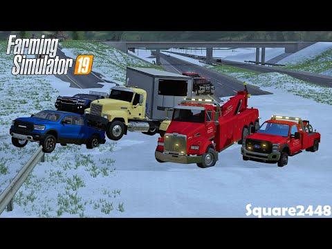 Winters First Crash! | Heavy Rescue | 3 Truck Pile Up | Heavy Wrecker | Farming Simulator 19