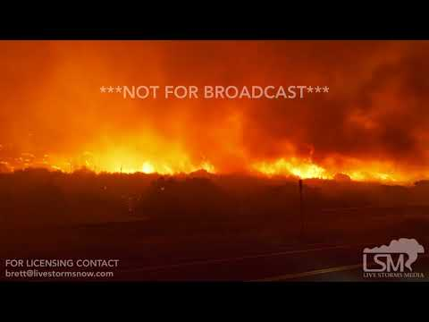 12-05-2017 - Faria Beach, CA - Wildfires burning near fire fighters