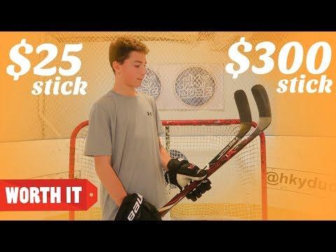 $25 HOCKEY STICK VS $300 HOCKEY STICK!