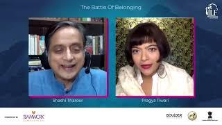 JLF Colorado 2020   The Battle of Belonging: Shashi Tharoor   Pragya Tiwari