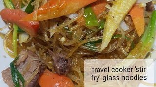 Travel cooker 'sauteed' glass noodles
