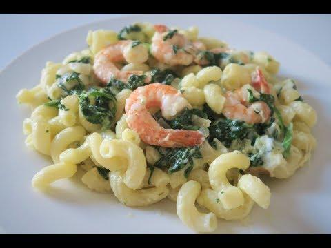 recette-83:-shrimp-spinash-&-cream-cheese-pasta-/-pâtes-aux-crevette-fromage-frais-et-epinard