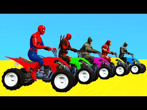 SpiderMan and Quad Bikes w SUPERHEROES Parkour Challenge - GTA 5 Mods |