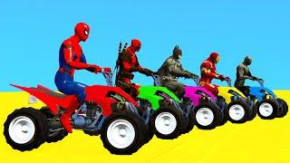 SpiderMan and Quad Bikes w SUPERHEROES Parkour Challenge - GTA 5 Mods