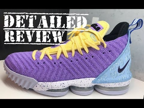 buy popular e1542 64a0c Nike LeBron 16 Lakers Heritage Sneaker Detailed Look Review #Lakers