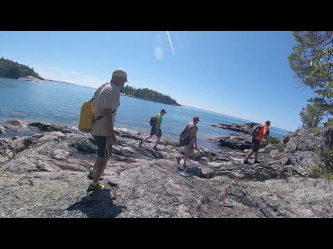 Setting up camp and i caught a PIKE -  Lake Superior Camping Trip PART 1 of 5