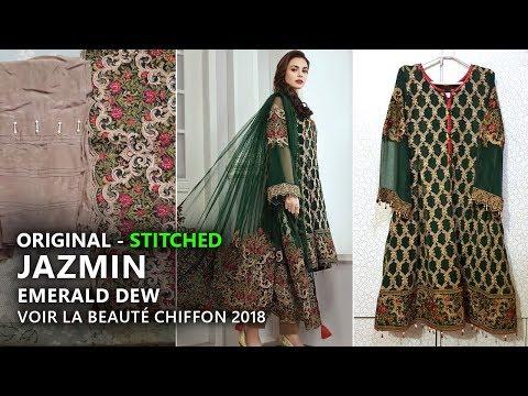 e1f5e0f2f3 Jazmin Chiffon Collection 2018 - Stitched Emerald Dew 02 Pakistani Branded  Clothes - YouTube