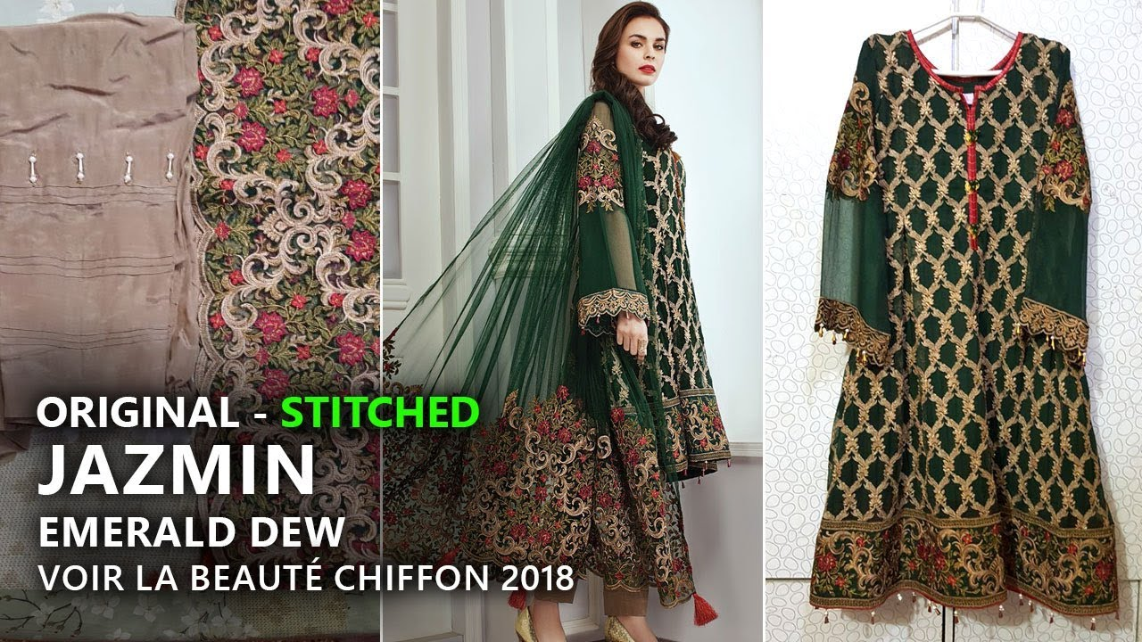 a36c4bd29a Jazmin Chiffon Collection 2018 - Stitched Emerald Dew 02 Pakistani Branded  Clothes