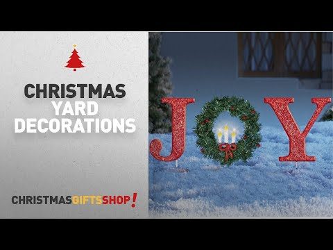 Top Christmas Yard Decorations Ideas: Glittered Red Christmas Stake Lighted Christmas Outdoor Yard