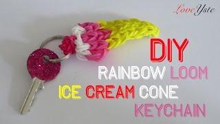 Rainbow Loom Denmark - Ice Cream Cone Keychain (easy Tutorial)