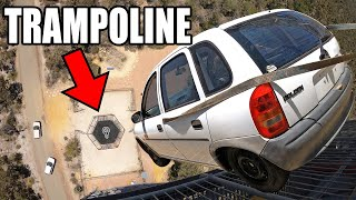 CAR vs. WORLDS STRONGEST TRAMPOLINE- 150ft (45m) drop