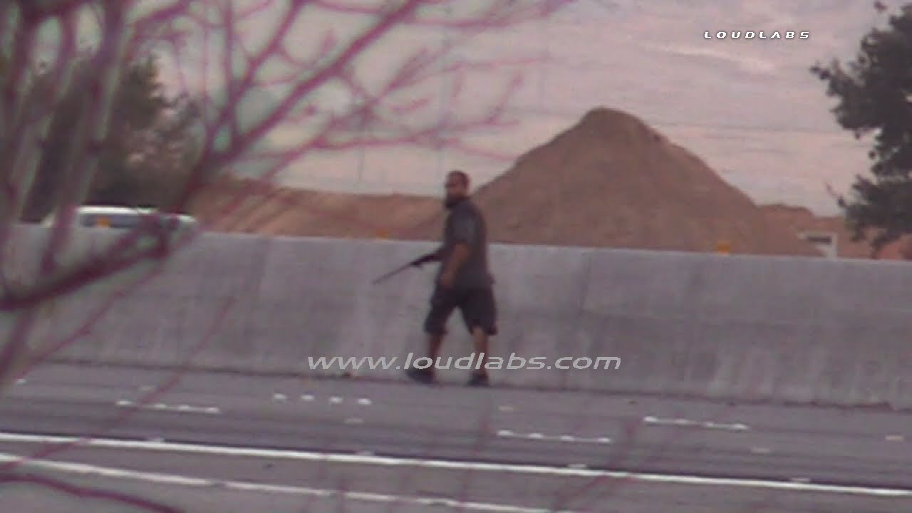 Man With Rifle On 215 Freeway / Perris RAW FOOTAGE