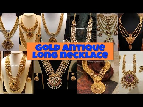 ANTIQUE GOLD LONG NECKLACE DESIGNS 2017