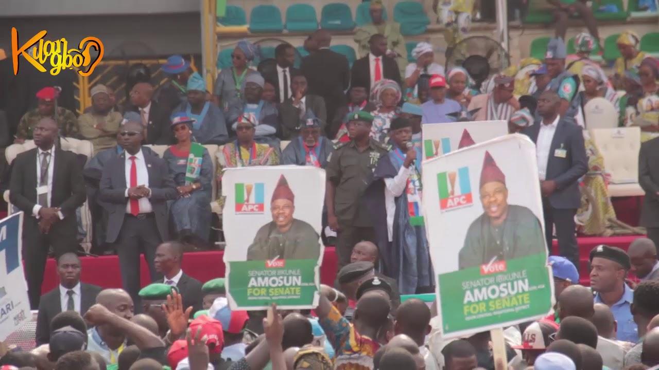 Show Of Shame! Tinubu and Amosun Drama As Abeokuta Crowd Disgraced Buhari At APC Presidential Rally