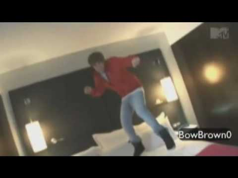 Justin Bieber jumping on a Bed