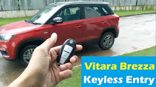 How to use Keyless entry feature in Maruti Suzuki Vitara Brezza : Smart key explained - ZDI Plus