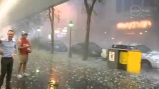 Brisbane storm: Helicopter crew trapped in storm