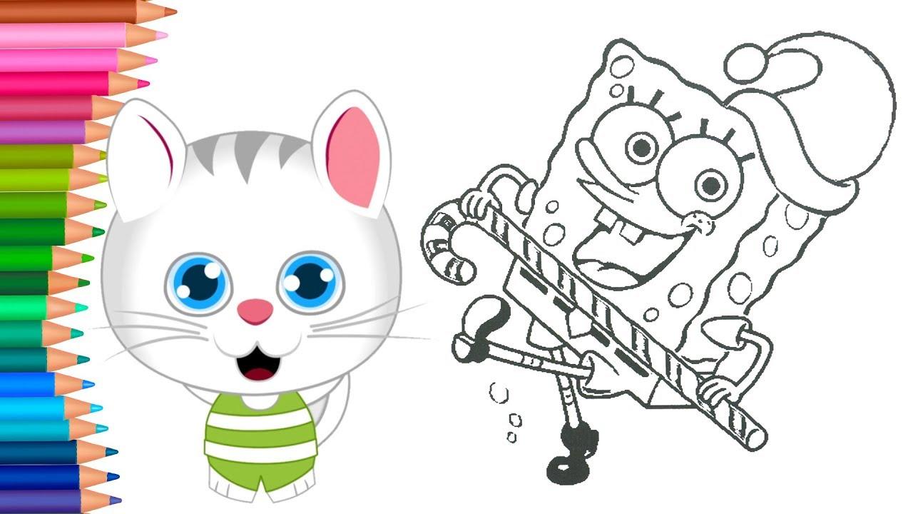 Dibujar Y Colorea Bob Esponja Con Gorro De Navidad Dibujos Para Niños Con El Gatoaprender Colores