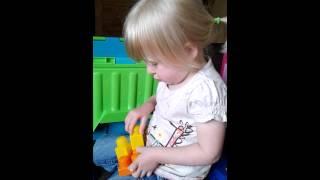 Toddler building with megablocks