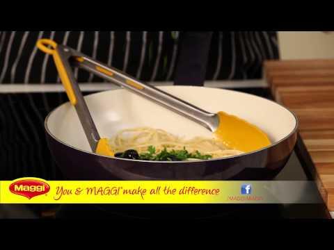 Spaghetti With Black Olives And Creamy Tomato Sauce : MAGGI® Recipe