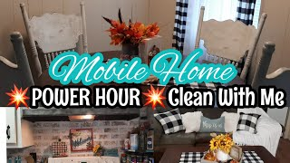 SINGLE WIDE MOBILE HOME POWER HOUR CLEANING MOTIVATION   MOBILE HOME CLEAN WITH ME