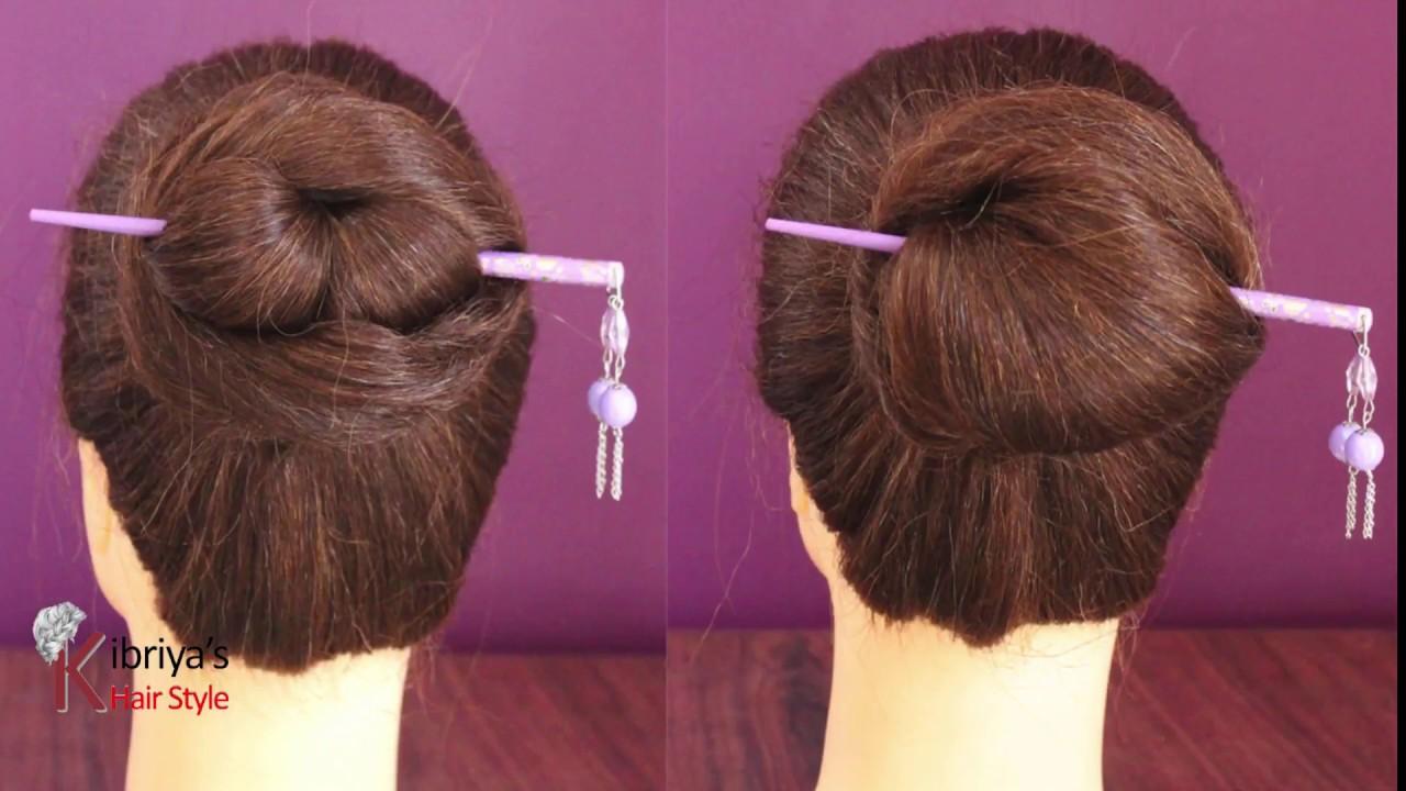 2 Easy And Amazing Juda Hairstyle With Bun Stick Chignon Bun Chinese Bun Cute Hairstyles