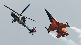 F-16 and AH-64D Apache fly at same speed