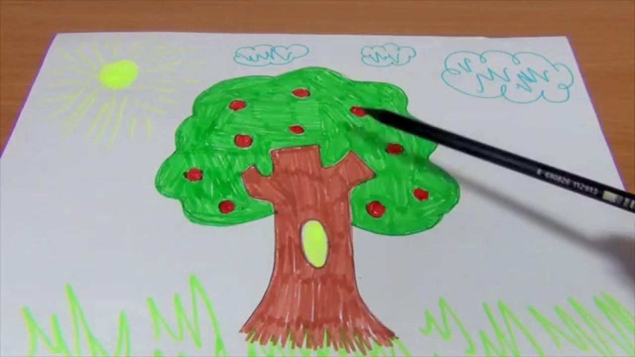 Обучающее видео для детей УЧИМСЯ РИСОВАТЬ ДЕРЕВО. Рисуем ...