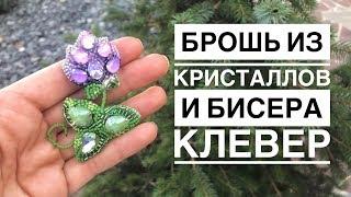 Брошь из бисера и кристаллов Клевер   как сделать брошь своими руками   clover crystal brooch