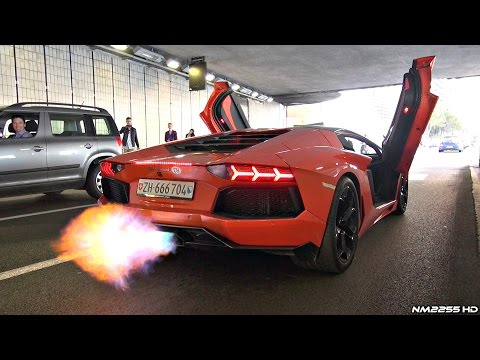 Lamborghini Aventador with Straight Pipe Exhaust HUGE Flames & Sounds!