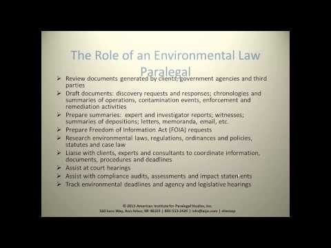 The Role of the Environmental Law Paralegal