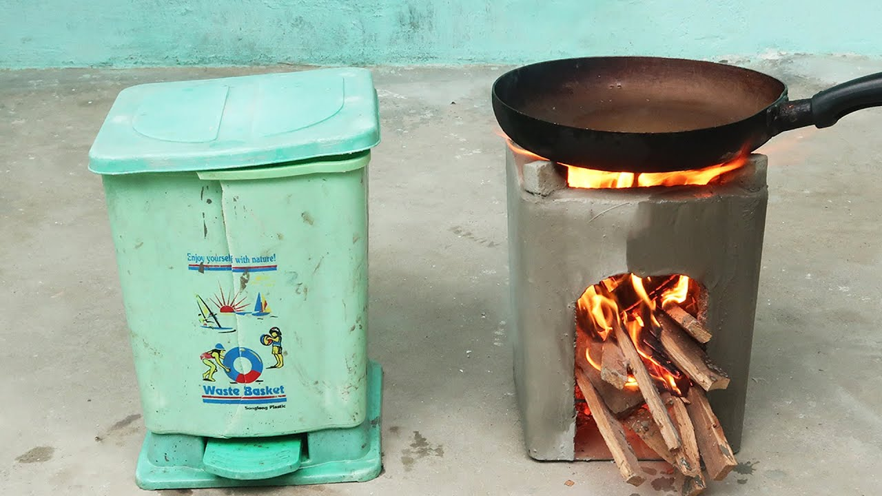 Great Idea To DIY Cement Stove From The Waste Bin