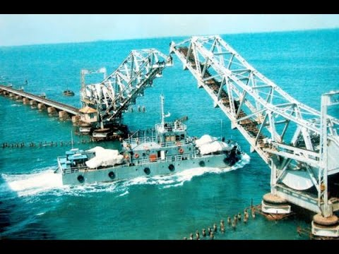 Rameshwaram train bridge pamban beautiful view