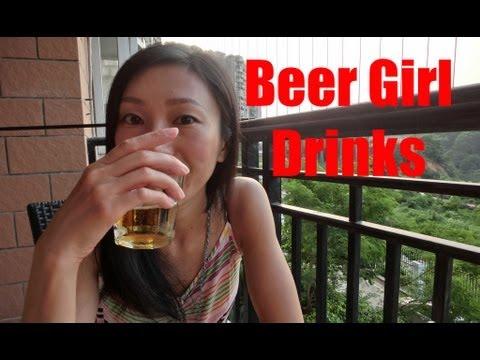Beer Girl drinks German Beer