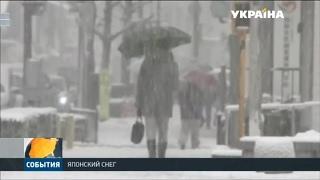 видео Ноябрьский снегопад в Японии