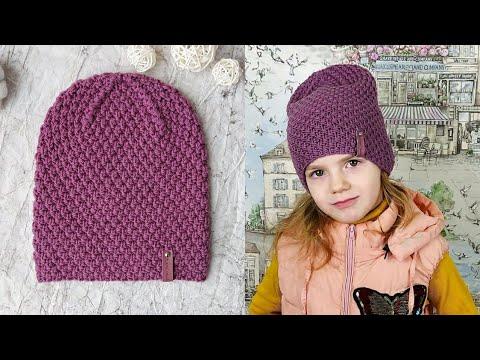 Вязание шапки спицами для девочки видео