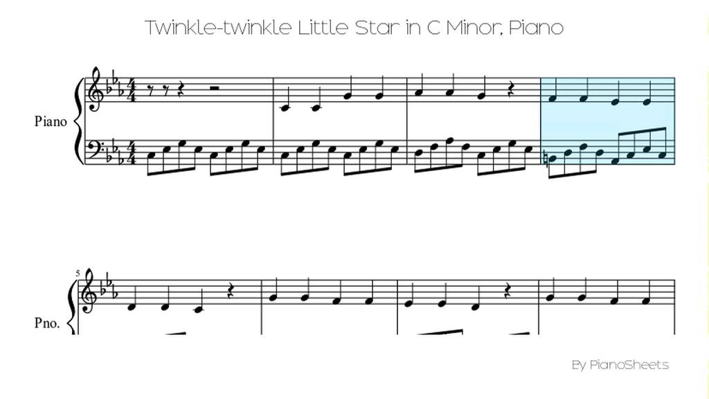 twinkle twinkle little star on the piano